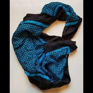 100% silk vintage scarf teal & black square